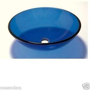 BATHROOM CLOAKROOM COUNTER TOP BLUE ROUND GLASS BASIN SINK  | eBay