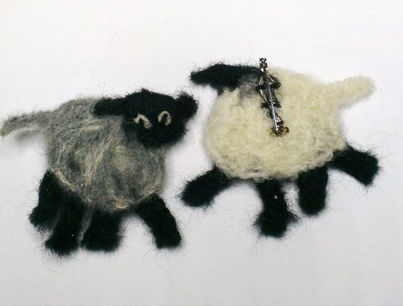 Irish Sheep brooch.  Needlefelt.  Made of by WildAtlanticCraft