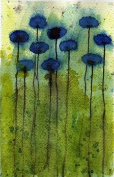 Watercolor colors chg flower color love the grees