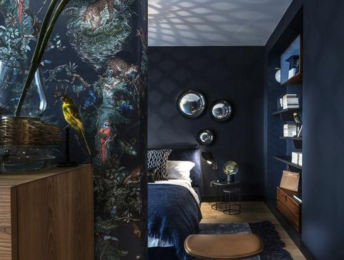 schlafzimmer-dekorieren-schwarz-blumen-bett-spiegel Mặt đứng nội
