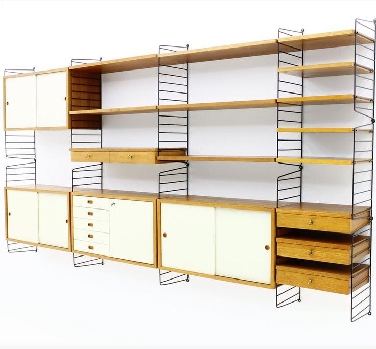 Large String Shelf, Sweden 1949 - Nisse Strinning - String Furniture