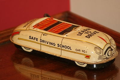 Vintage Marx Driver Training Safe Driving Training School Tin Windup Car