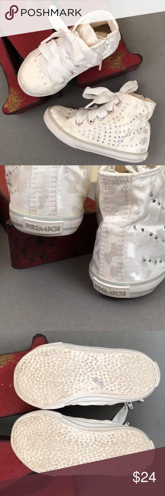 PRIMIGI Satin Embellished High-Top Sneakers Sweet toddler girl sneakers with sparkly. Fun alternative to patent Mary Janes for all your little ones dressed up occasions.  European size 24/US little girl 7.5 Good preowned condition: faint staining on side of shoe and laces as pictured. Primigi Shoes Sneakers