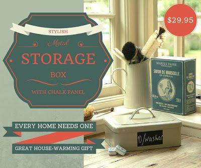 Metal Storage Tin - a stylish way to organise your home. Great house-warming gift idea! #storage #stylishstorage #storagebox