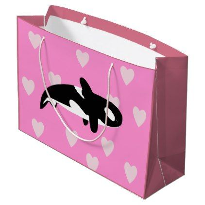 Cute Orca - Killer Whale Drawing with Hearts Large Gift Bag - fun gifts funny diy customize personal