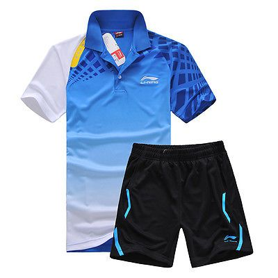 Shirts and Tops 70900: 2015 Li Ning Men Table Tennis Shirt Badminton Clothes Set Shirt+Shorts 9655 BUY IT NOW ONLY: $33.99