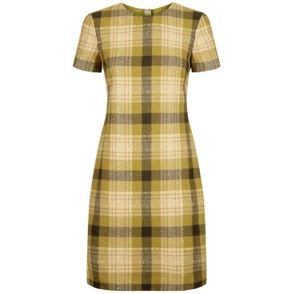 Hobbs Carr Check Dress (430 PEN) ❤ liked on Polyvore featuring dresses, brown bodycon dress, brown maxi dress, short-sleeve dresses, shift dress and midi dress