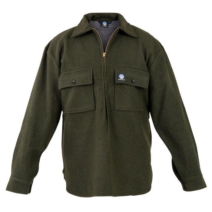 Swanndri Ranger Wool Bushshirt - Olive (Click for full size)