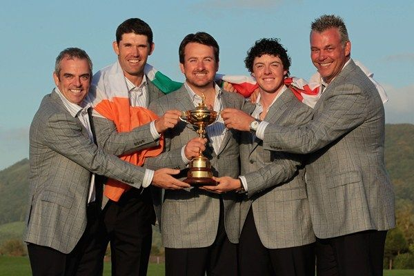 Paul McGinley, Padraig Harrington, Graeme McDowell, Rory McIlroy and Darren Clarke are all now confirmed to appear at the 2013 Irish Open at Carton House in June  (Getty Images)