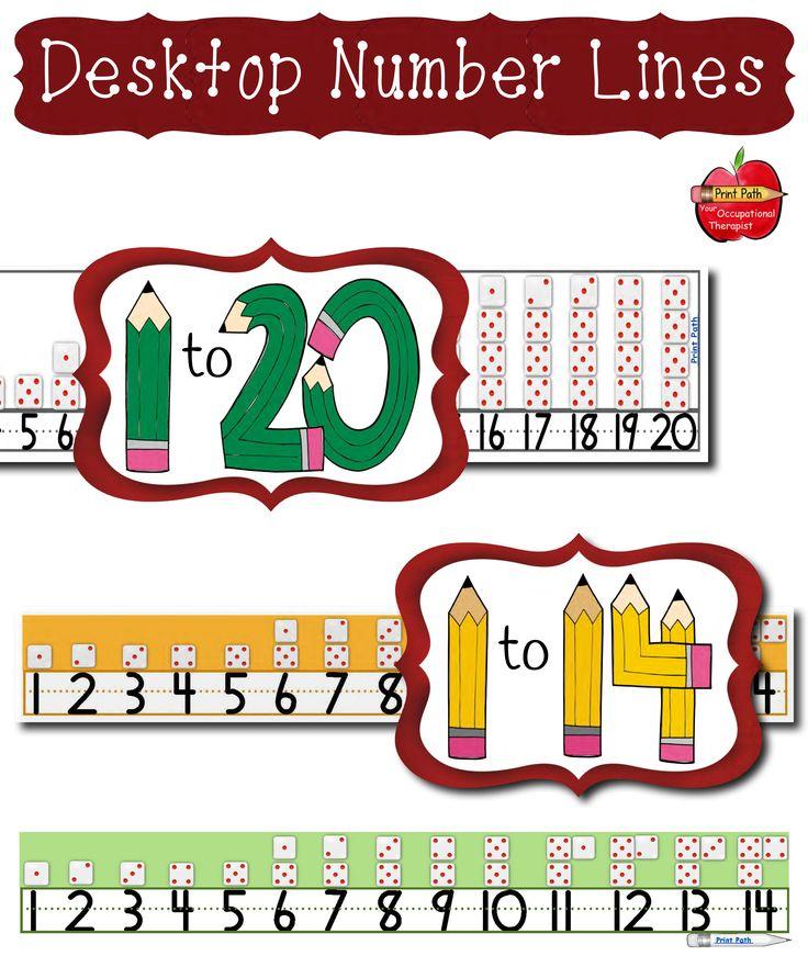 Desktop Number Lines: 1-14 & 1-20, Colors or Black & White ...