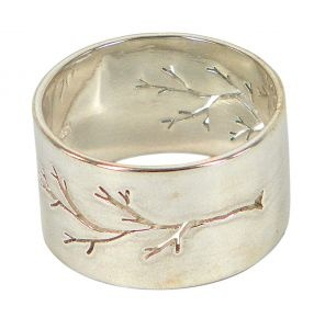 Pierced Tree large parallel ring in sterling silver  $230