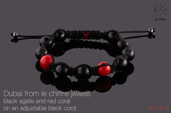 Dubai black agate and red coral shamballa by lechiffrejewels