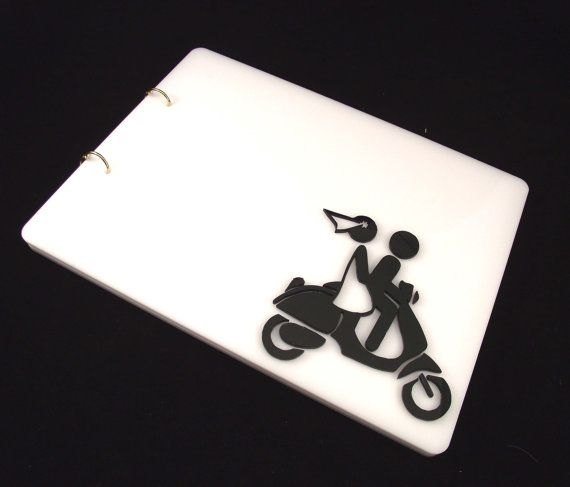 Plexiglass Wedding Guest Book, Minimal 3D Guestbook,  Personalized Guestbook, Black & White Guestbook, Contemporary Guestbook, Vespa Couple