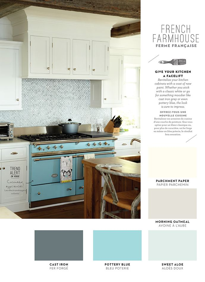 FRENCH FARMHOUSE | Give your kitchen a facelift | Revitalize your kitchen cabinets with a coat of new paint. Whether you stick with a classic white or go for something moodier like a pottery blue, the look is sure to impress. #BeautiTone