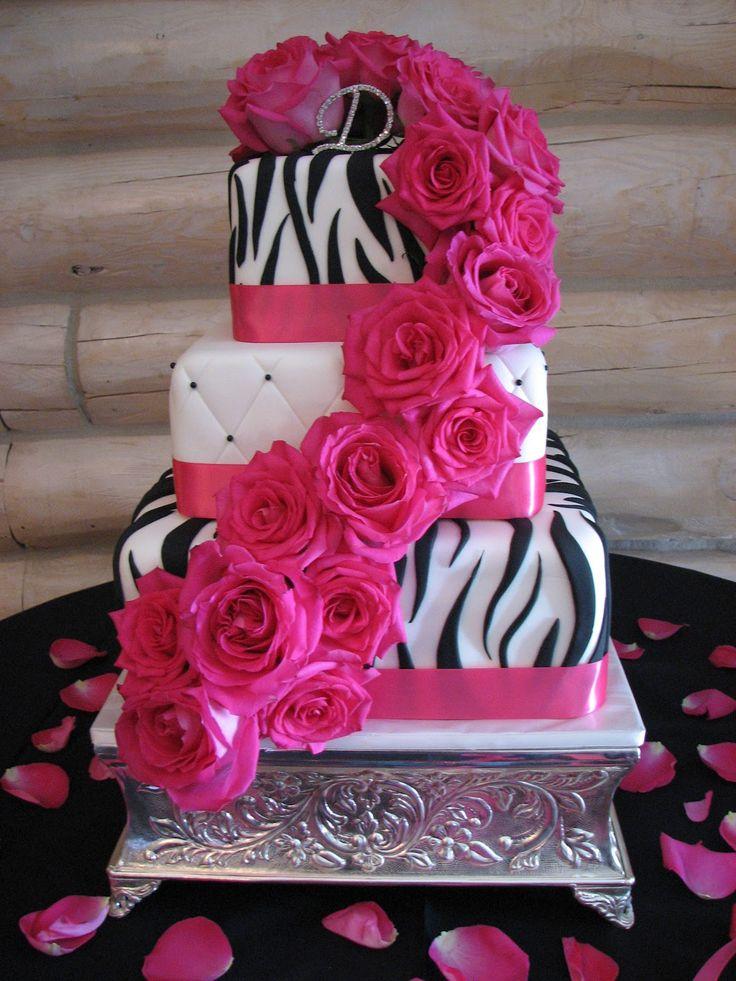 fuchsia Wedding Cakes   Decadent Designs: Leandra's Black/Pink Zebra Wedding Cake