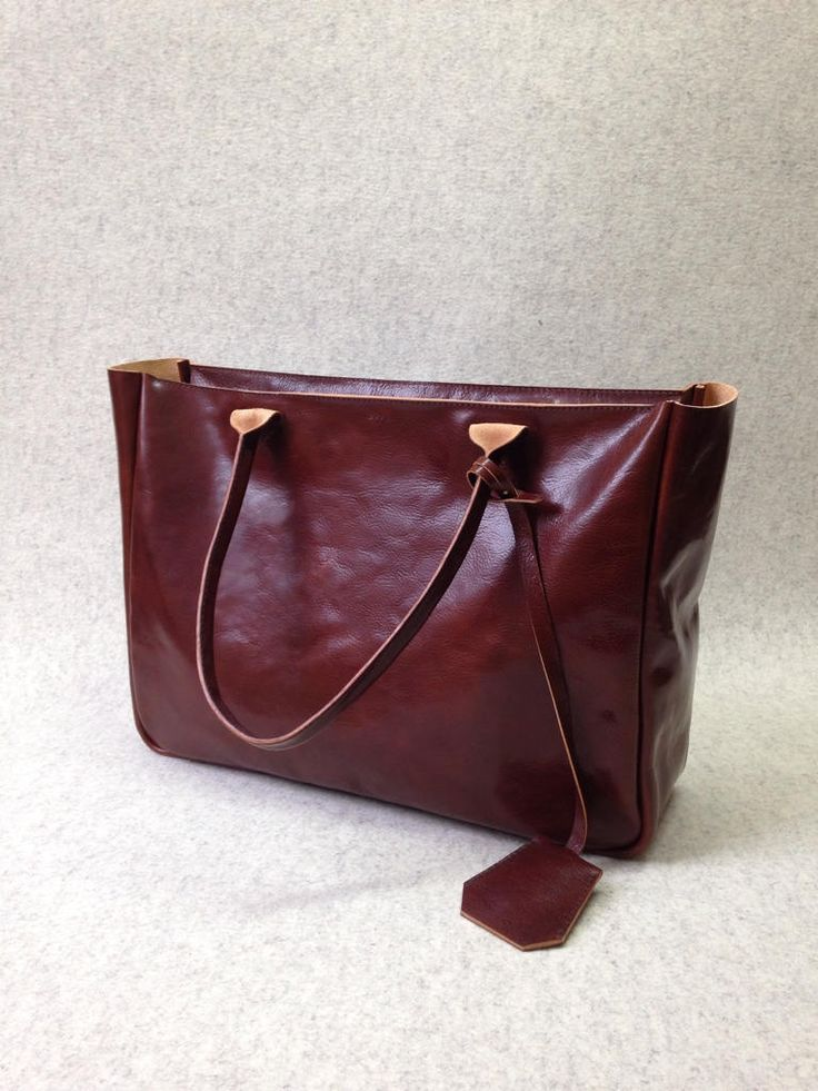 Top Zip Brown Leather Tote Bag – BELLA VOLUME Cognac Brown - Large Size Handmade Leather Tote - Safe Top Zip Leather Bag
