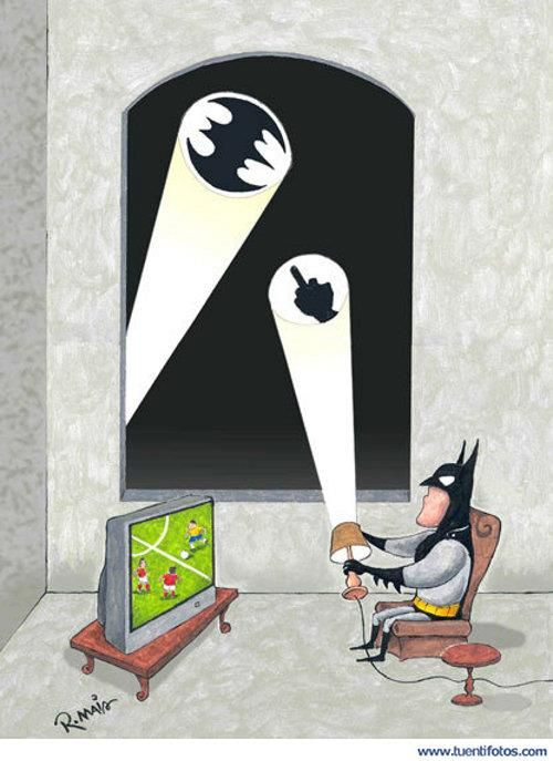 Batman loves his futbol.