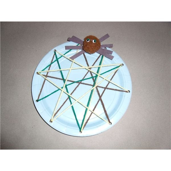 little miss muffet: Spider Web, punch holes in a paper plate and let children string the web