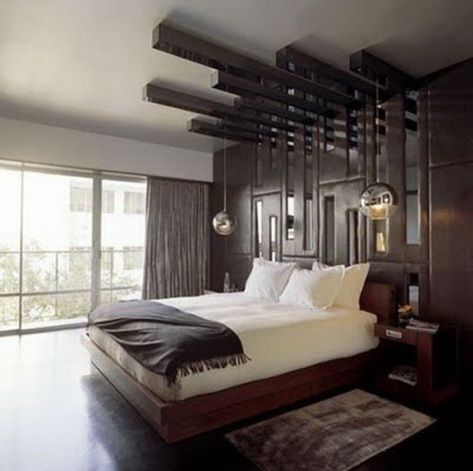 modern bedroom furniture design statement light fixture above bed - Bedroom Design Modern