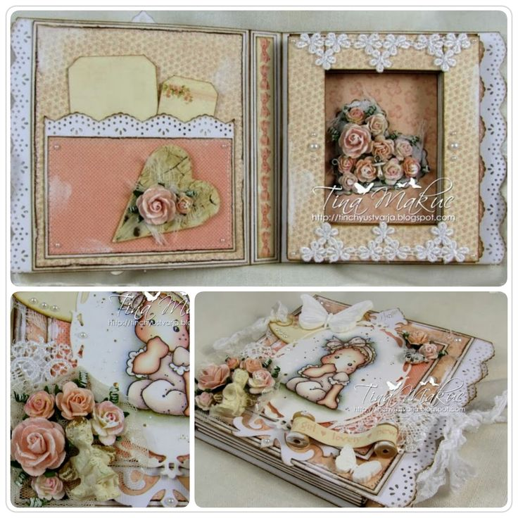 Book Card by LLC DT Member Tina Makuc, using papers from Pion Design's Sweet Baby collection and a Magnolia image.