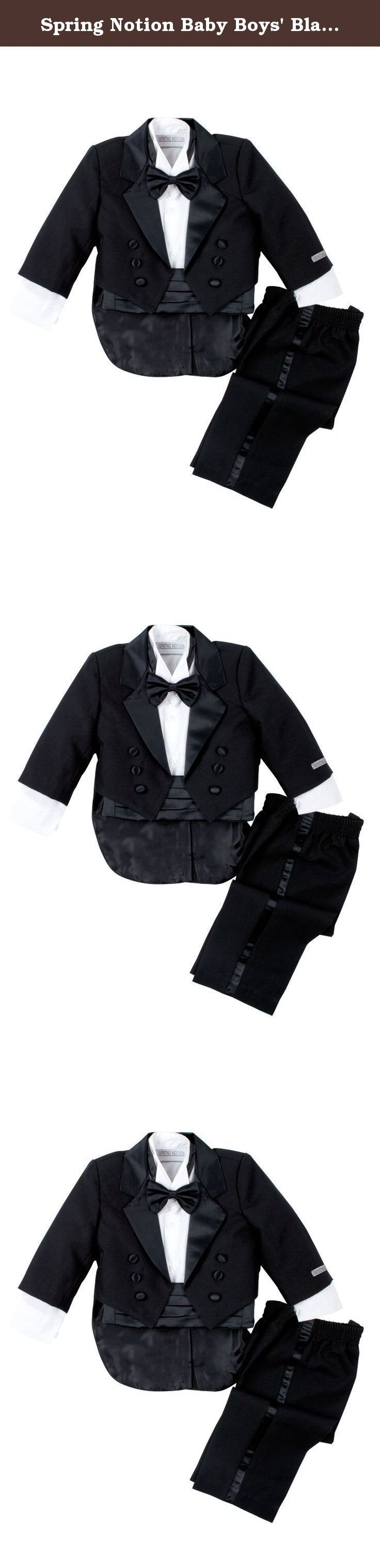 Spring Notion Baby Boys' Black Classic Tuxedo with Tail Extra Large /18-24 Months. This traditional boys tuxedo suit is perfect for Weddings, Church, Baptism, and any Special Occasions. Timeless design. It's a complete set consists of tuxedo, shirt, bow tie, cummerbund and pants.