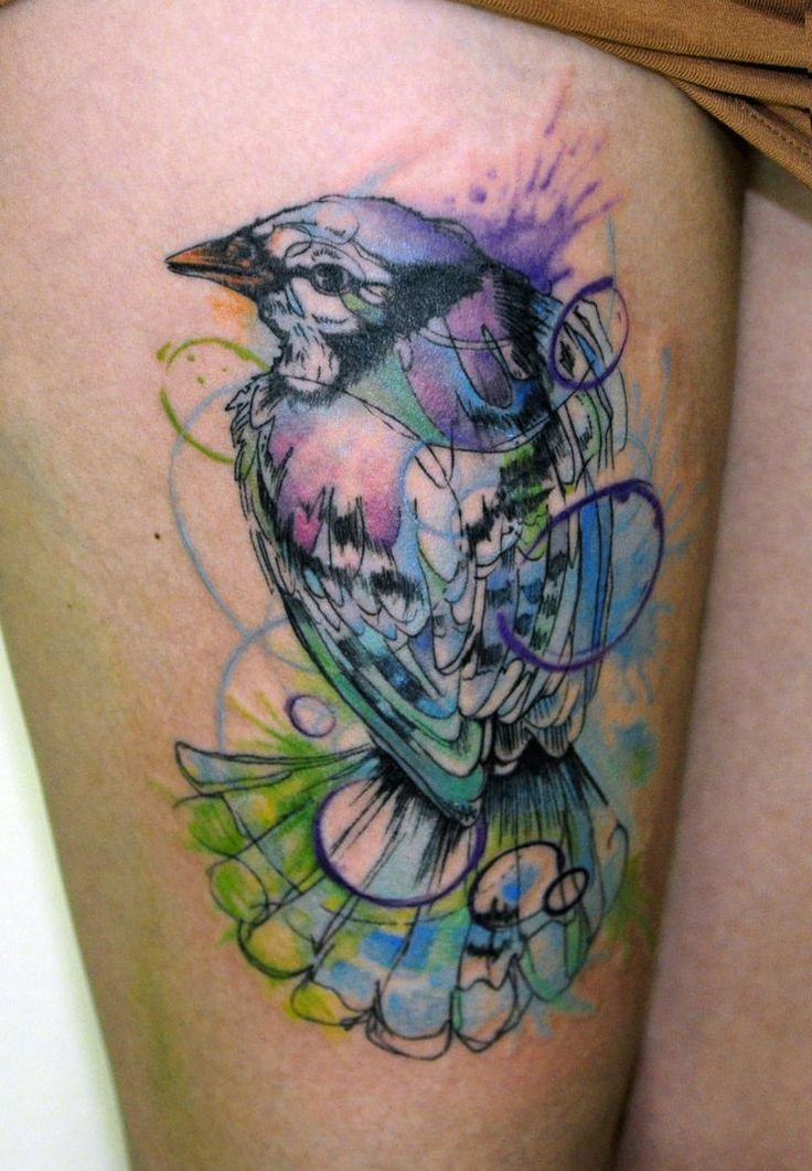 watercolor bird tattoo: The Artists, Watercolor Tattoo, Watercolor Birds Tattoo, Thighs Tattoo, Water Color, A Tattoo, Blue Jay, Tattoo Ink, Watercolour Tattoo