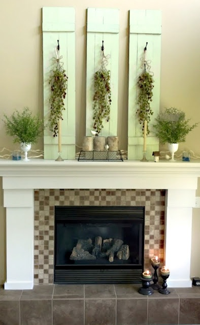 Decorate the fireplace and mantel re purpose old for Mantel display ideas