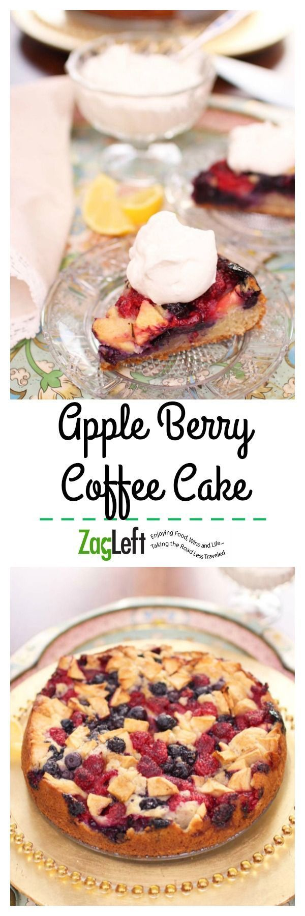 Tender Apple Berry Coffee Cake topped with blueberries, raspberries and apples. Perfect as a dessert or for breakfast. | http://zagleft.com