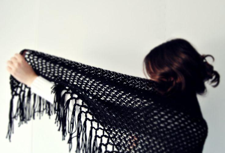 #black # crochet #wool #winter #woman #shawl  #gift #handmade