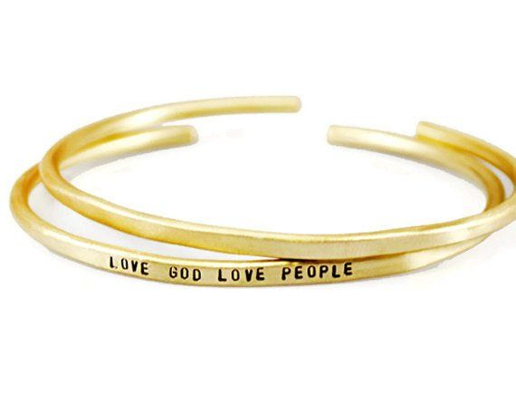 Love God Love People. Custom Personalized Brass Cuff Bracelet.