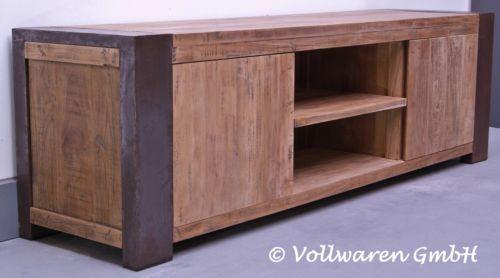 VINTAGE-TEAK-STAHL-TV-LOWBOARD-Loft-Industrie-Design-Anrichte-Kommode-2-GROSSEN