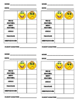 Behavior management charts for pre k super easy prek for Behavior charts for preschoolers template