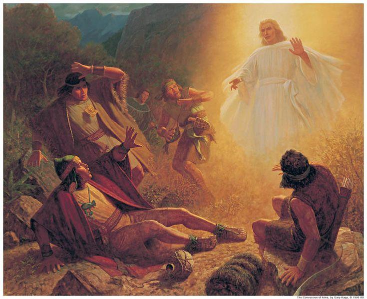 Ein Engel erscheint Alma und den Söhnen Mosias während sie danach trachten die Kirche des Herrn zu zerstören (Mosia 27).