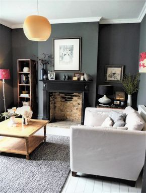 Decorating with dark colours, grey lounge. Visit blog for all the details.