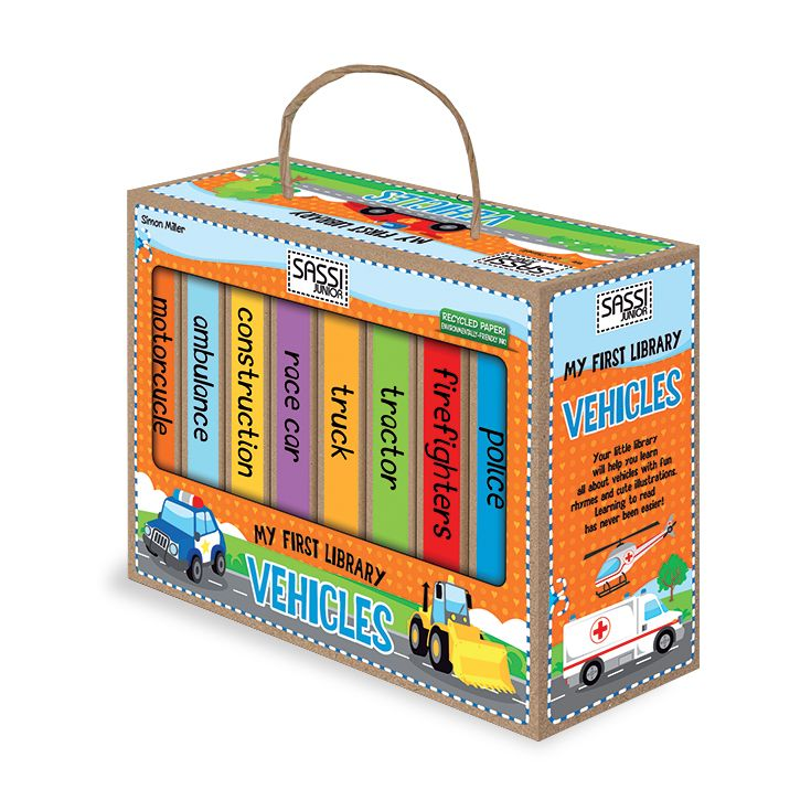 #Sassi Junior: My First Library - Vehicles. 8 books with 10 coloured pages each. #eco #friendly #book #game