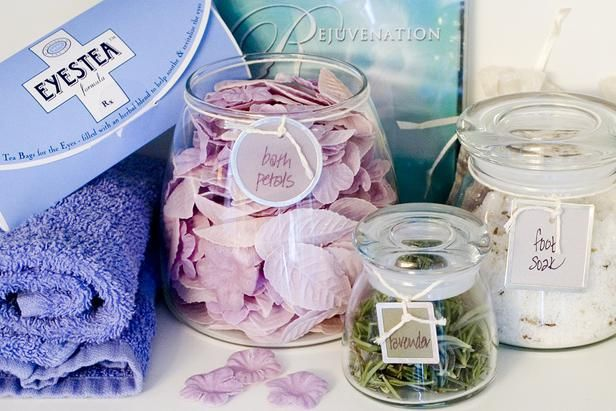 give your bathroom the spa treatment by using glass jars filled different relaxing products to set the mood