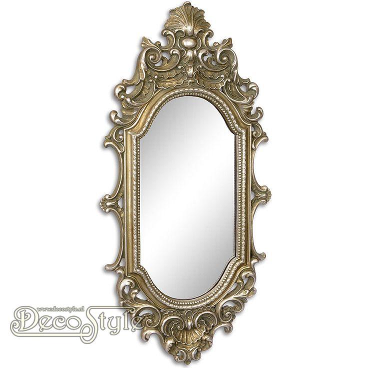 Barok Spiegel Sarah Zilver  Klassiek rijk versierde Barok spiegel. Kleur: Antiek Zilver Materiaal: Polystone Afmetingen: Hoogte : 57.2 cm Breedte: 27.7 cm Diepte: 5 cm A RESIN WALL MIRROR