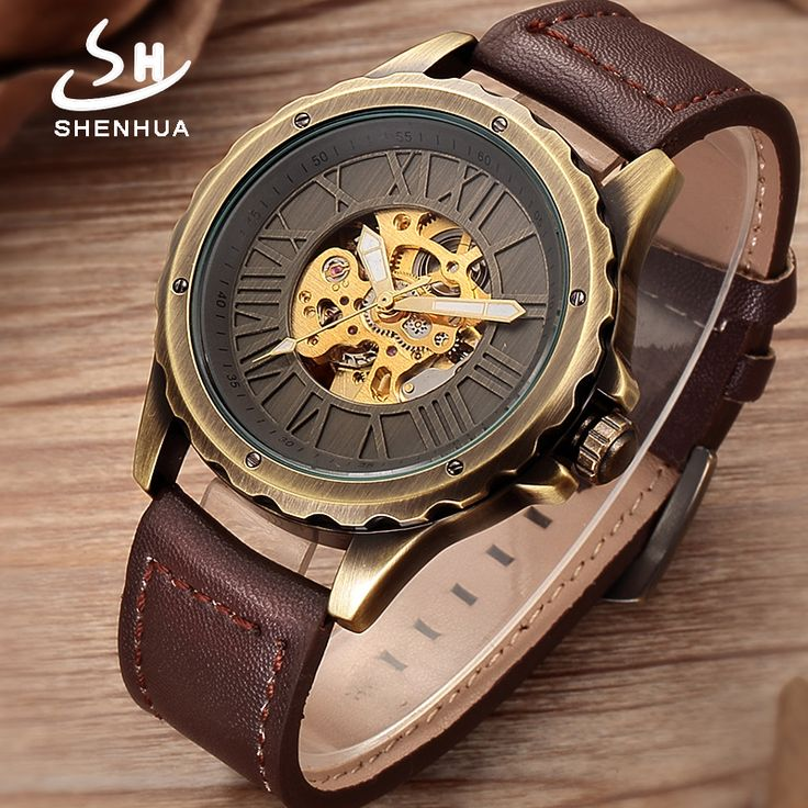 Shenhua 2018 New Bronze Steampunk Skeleton Watch Big Roman Numbers Retro Buckle Leather Automatic Watches Clock horloges mannen. Yesterday's price: US $49.99 (40.61 EUR). Today's price: US $20.00 (16.29 EUR). Discount: 60%.