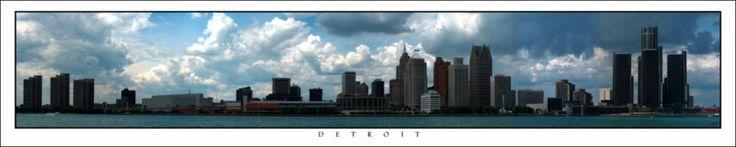 Poster Panorama Detroit Michigan Skyline Panoramic 10x50 Print Joe Louis Arena