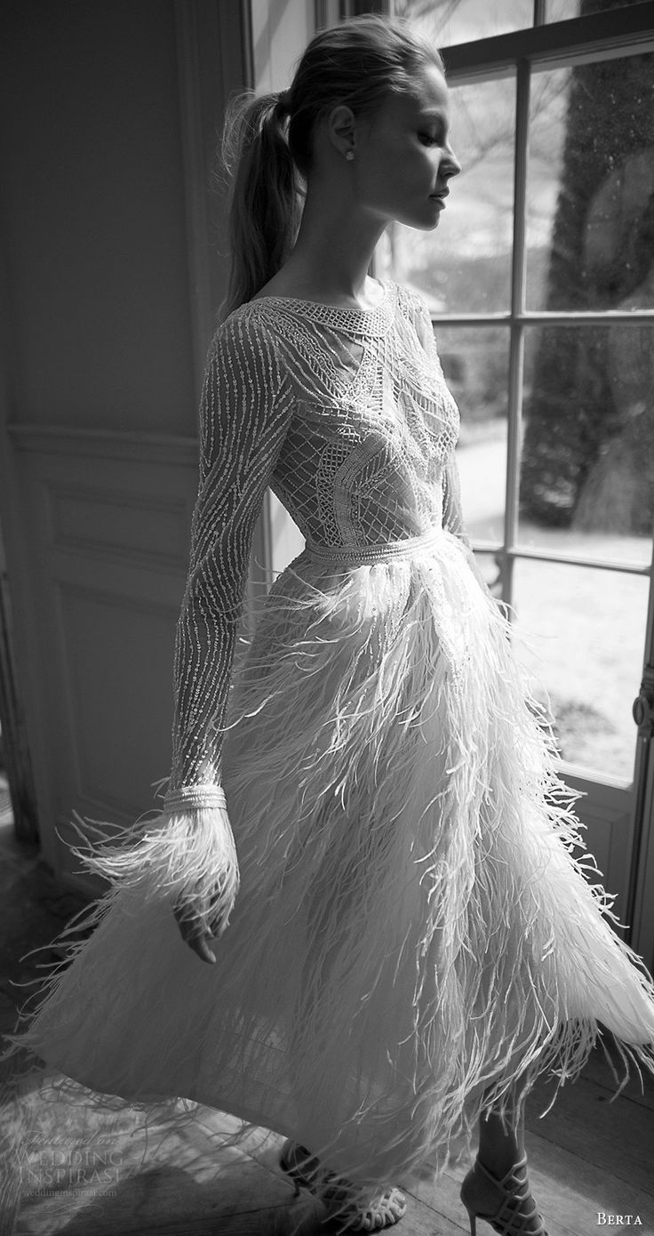 feather wedding dresses wedding dress with feathers Berta bridal
