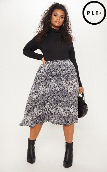 3dec5ac1a4 PrettyLittleThing snake print pleated midi skirt. #prettylittlething  #plussize #plussizefashion