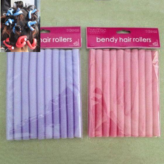 10Pcs/Set Soft Hair Rubber Curler Roller Curl Hair Bendy Rollers Hair Curlers Tool Styling Rollers Sponge Hair Curling