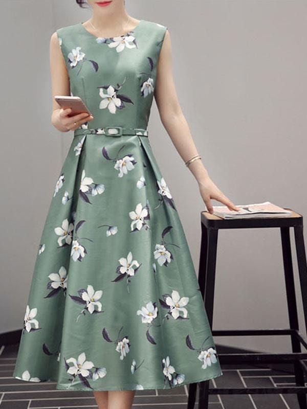 Doresuwe.com SUPPLIES エレガントトレンド感あふれる緑花柄マキシワンピース マキシワンピース