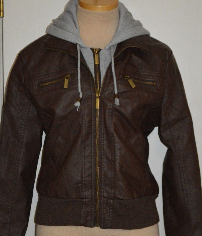 Ladies Rue 21 Brown Gray Hoodie Synthetic Leather Jacket Coat Juniors Sizes S, L #rue21 #BasicJacket
