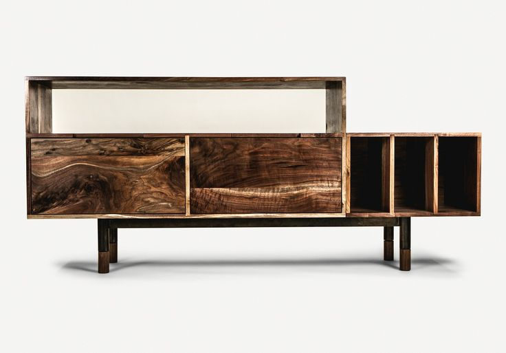 Solid claro walnut record player credenza by Jeff Martin Joinery