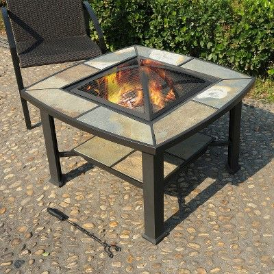 Leisurelife Rimini 4 In 1, Slate, Coffee Table, Cooler, Fire Pit,