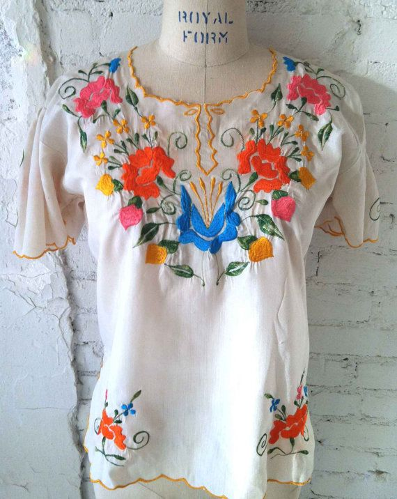 Repinned by Bella Fruda-- mexican typical blouses | The Summer is Here Traditional Mexican Blouse w/ Floral Embroidery