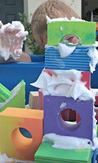 Four Foam Block Building Ideas - Shaving Cream Morter Creative Curriculum this week in Pre-Kindergrten and Jr. Kindergarten