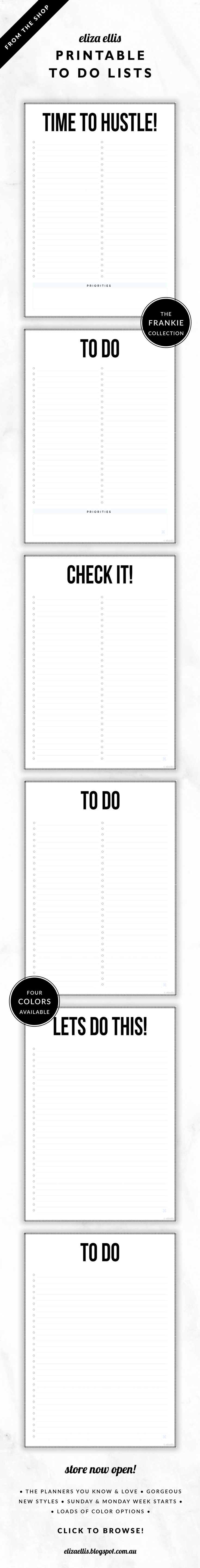 Printable To Do Lists // The Frankie Collection by Eliza Ellis. Classic, bold design with hash border. Available in 4 colors –  silk, mist, smoke and bone. Documents print to A4 or A5.