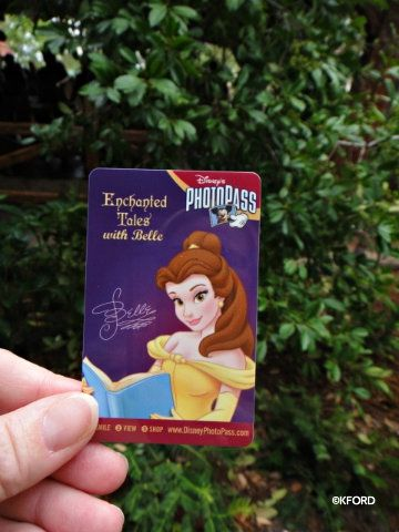 enchanted tales with Belle is a chance for the audience to get involved in the story. If you get to be a part of the production then you will be given a special PhotoPass Card that will look like THIS. You could also just have them scan in your PhotoPass+ card that you already have on you but this BELLE card is a little special so you may want to keep it as a souvenir!